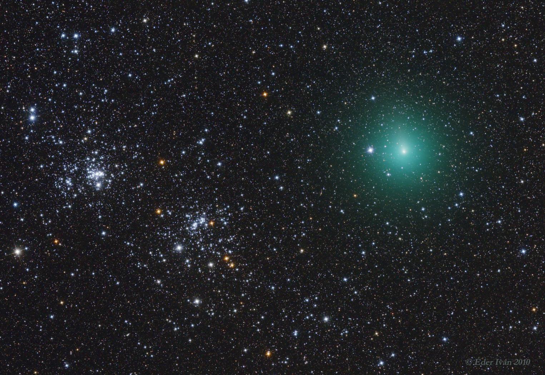 A 103P/Hartley üstökös találkozása a Perzeusz Ikerhalmazzal (NGC 869,884)