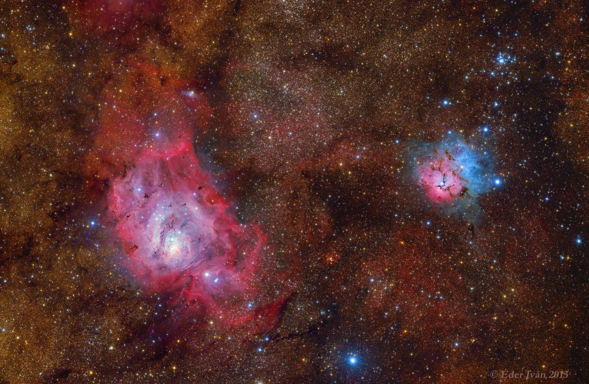 Lagoon and Trifid Nebula (M8, M20)