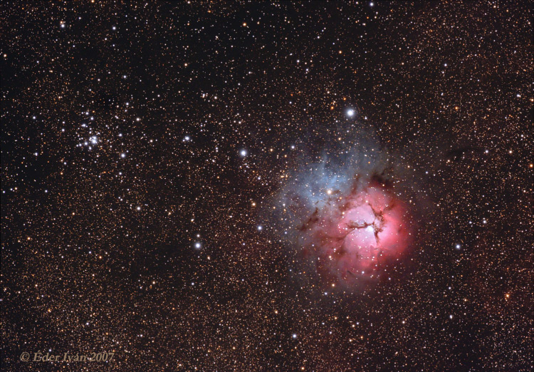 M20 (Trifid nebula) and M21 open cluster