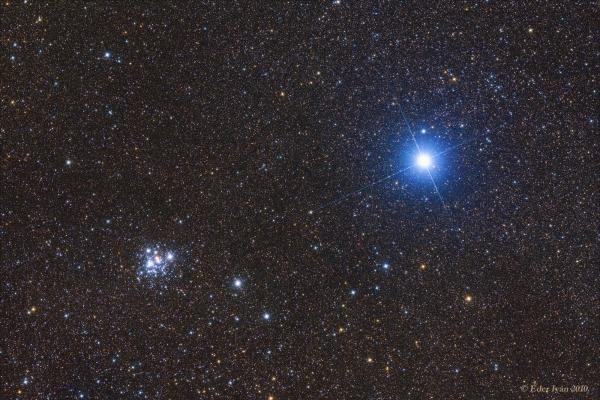 Az Ékszerdoboz (NGC 4755) és a Mimosa (beta Crucis) párosa
