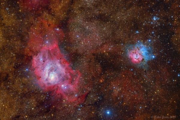 A Lagúna és a Trifid-köd (M8, M20)
