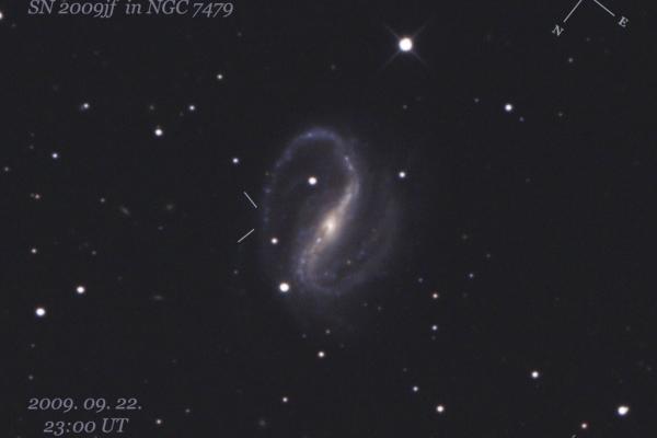Az SN 2009jf szupernóva felvillanása az NGC 7479 galaxisban