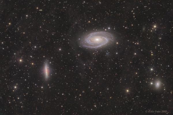 Az M 81, M 82, NGC 3077 galaxisok  és a Fluxusköd