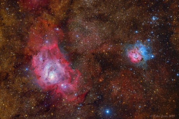 Lagoon and Trifid Nebula (M8, M20)