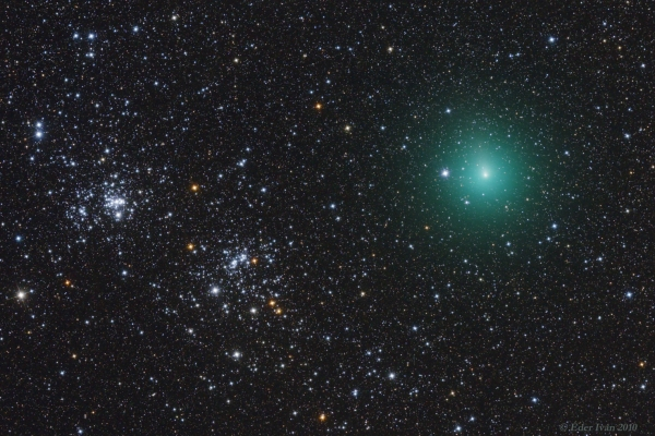 Comet 103P/Hartley meets Double Cluster