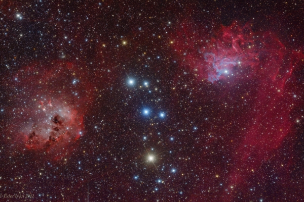 The beautiful pair of IC 405 and IC 410